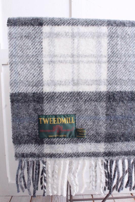 TWEED MILL grey 国際ブランド 受賞店 チェックブランケットcottage