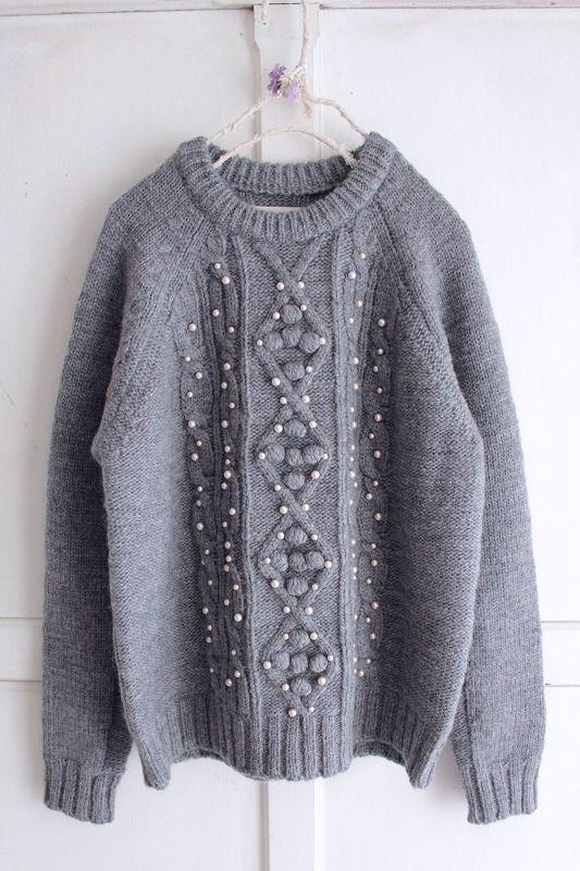 【Sale】【送料無料】nesessaire〈ネセセア〉 アラン編みパールビーズ刺繍ニット