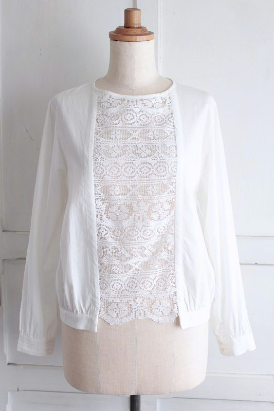 【Sale】【送料無料】nesessaire blouse〈ネセセア〉フィレレースブラウス WH