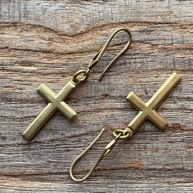 シンプルでかわいい真鍮のクロスピアス シンプル クロス スウィング ピアス アンティーク ヴィンテージ ゴールド メンズ レディース brass 十字架 公式通販 ゆらゆら お洒落 レトロ プレゼント フック 品質検査済 金 ぶら下がり