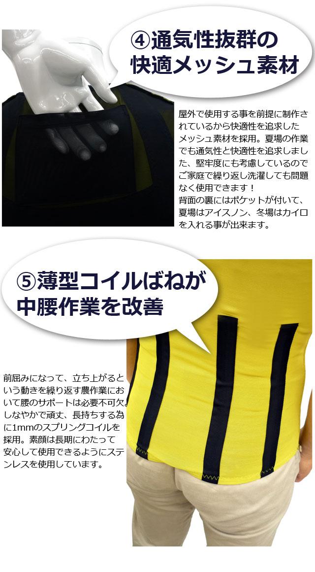 집계 파워 슈트 [agri power suit KITORA 키토 라] [남녀 공용 조끼 허리 통증 완화 허리 통증 방지 농업용 농사일 보조 中腰 작업 어시스트 허리 지원 메쉬 소재 블랙 블루 옐로우 핑크 S M L LL 3L]