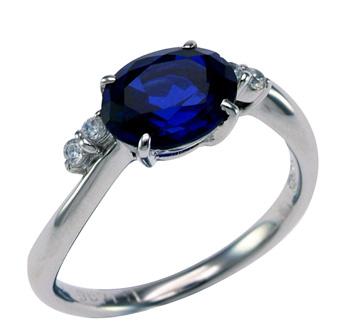 【リングリフォーム用】オーバル宝石用メレ入り 指輪 空枠4本爪横留め(B)