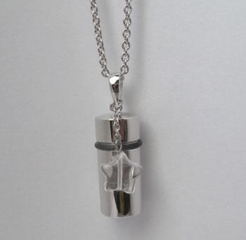 シルバー小型遺骨ペンダント水晶チャーム/50cmチェーン
