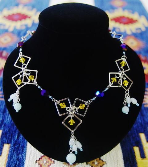 ネックレス チョーカー エーディン ケルトの蝶 アマゾナイト スワロフスキーエレメント 創作女神アクセサリー アトリエ ティー