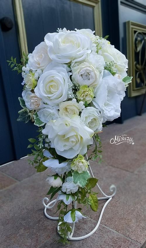 *misuzu*王道!白薔薇の正統派キャスケードブーケ 070 前撮り・海外挙式・リゾ婚 ブライダル