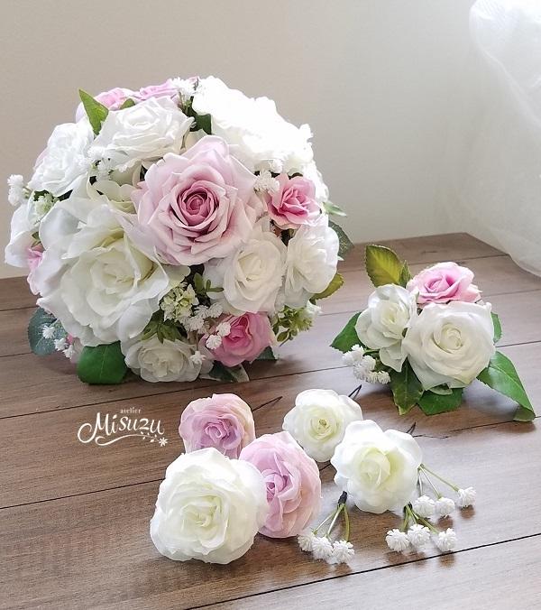 *misuzu*リアル!上質な薔薇(バラ)ホワイトxピンクのラウンドブーケ3点セット ・海外挙式・リゾ婚 ブライダル 前撮り ガーデンローズ 092