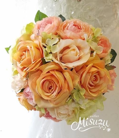 *misuzu*優しいアプリコット~オレンジ薔薇 ラウンドブーケ・海外挙式・リゾ婚 ブライダル 前撮り 095