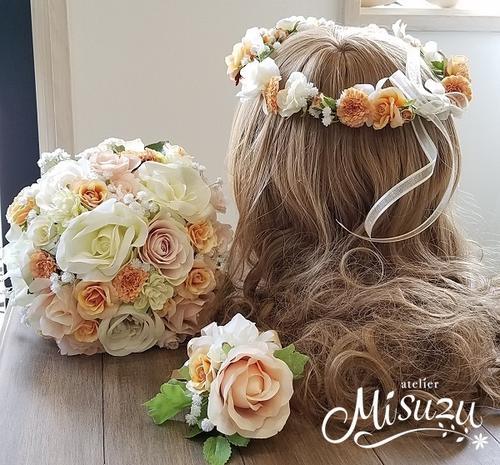 *misuzu*  淡いピーチ~サーモン 花冠かパーツ選べます!前撮り・海外挙式・リゾ婚 ブライダル ウェディングブーケ 造花ブーケ