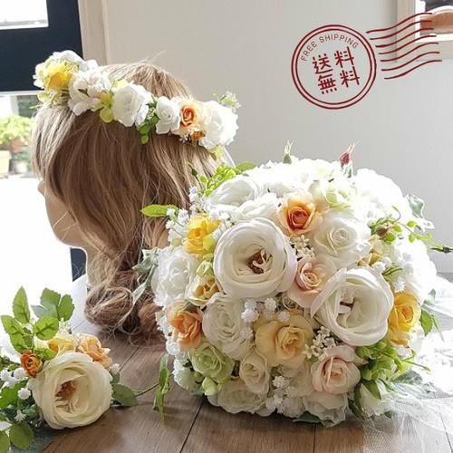 *misuzu*【3点セット】 ヘアパーツに変更可能です!ほっこりオールドローズ♪  041 前撮り・海外挙式・リゾ婚 ブライダル 薔薇 ダリア ウェディングブーケ 造花ブーケ
