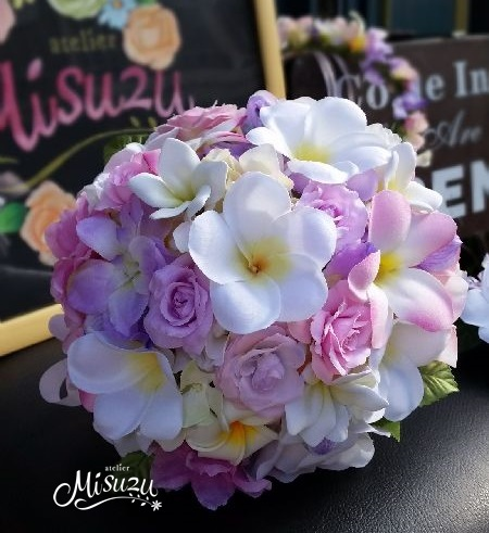 *misuzu* *misuzu*南国プルメリアラウンドブーケ・ブトニアセット 026 前撮り・海外挙式・リゾ婚 ブライダル