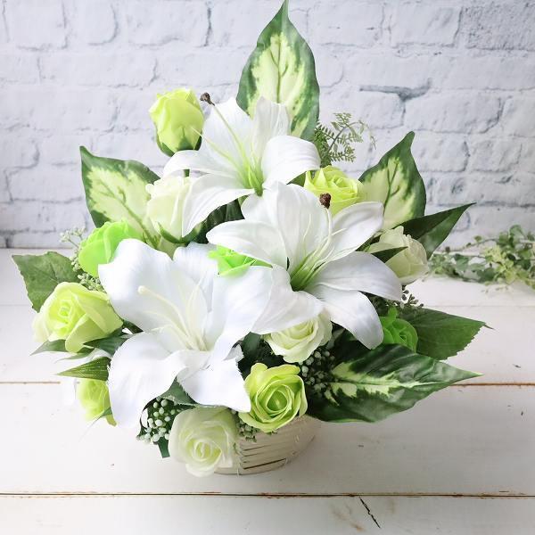 お新盆 お供え マーケティング フラワーアレンジメント カサブランカ ソープフラワー 仏花 手入れ不要 限定特価 枯れないお花 直送でお気持ちを届けます