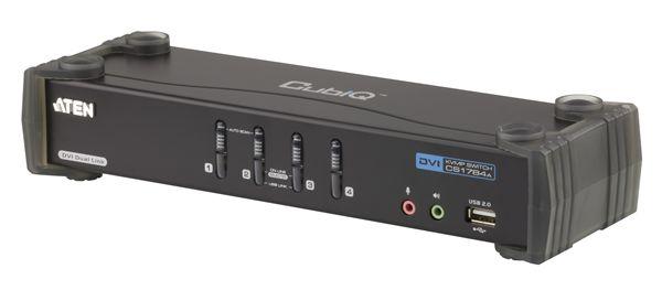 USBコンソール1箇所から4台のコンピューターと2台のUSBデバイスの操作が可能 ゲーミングキーボード使用可能 特価品コーナー☆ 送料無料 3年保証 ATEN CS1784A CPU切替器 4ポートDVI 当店限定販売 Link対応 Dual