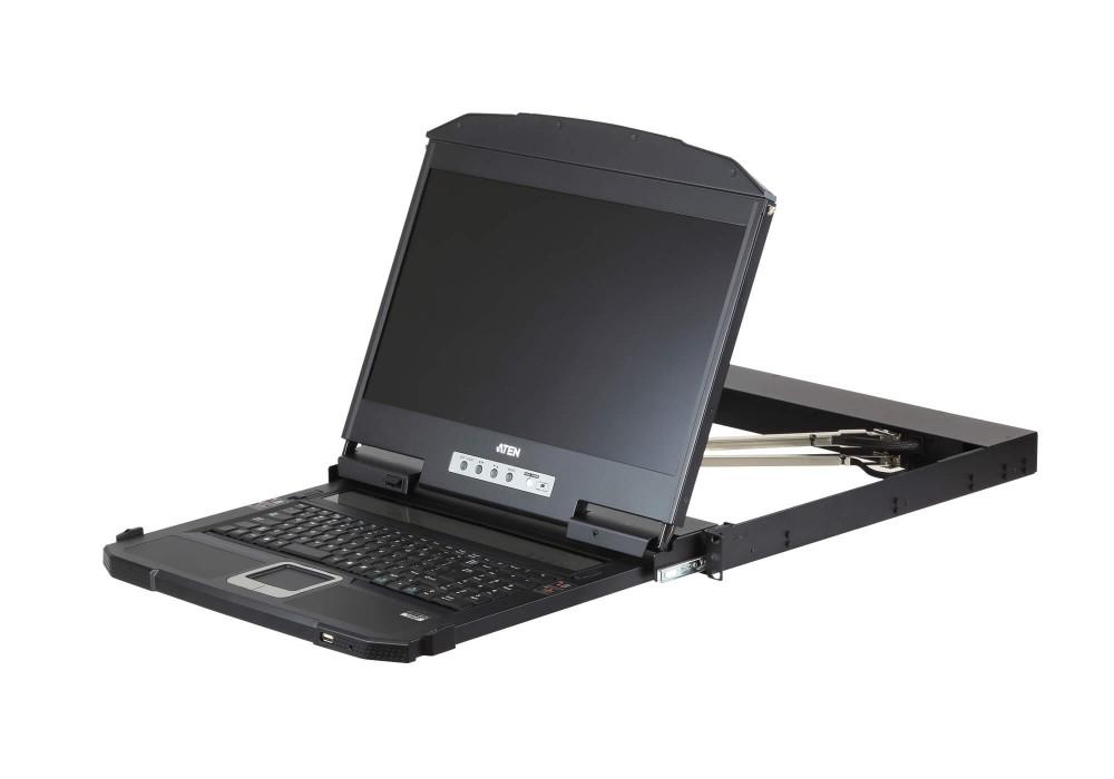 【送料無料】【2年保証】USB/HDMI/DVI/VGA対応 デュアルスライドLCDコンソールドロワー(ショートラック対応)【CL3800NX】