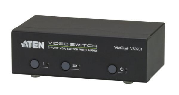 【送料無料】【3年保証】ATEN 2入力1出力 2ポート オーディオ/ビデオスイッチャー【VS0201】