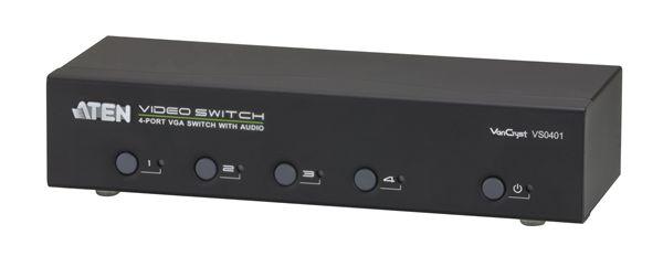 【送料無料】【3年保証】ATEN 4入力1出力 4ポート オーディオ/ビデオスイッチャー【VS0401】