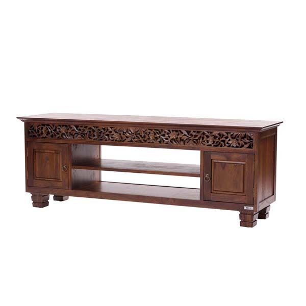 アジアン家具 @CBi UBUD チーク無垢材 テレビボード 幅150cm 奥行40cm 高さ54cm チーク 木製 彫刻 透かし彫り rtn-acw850ka