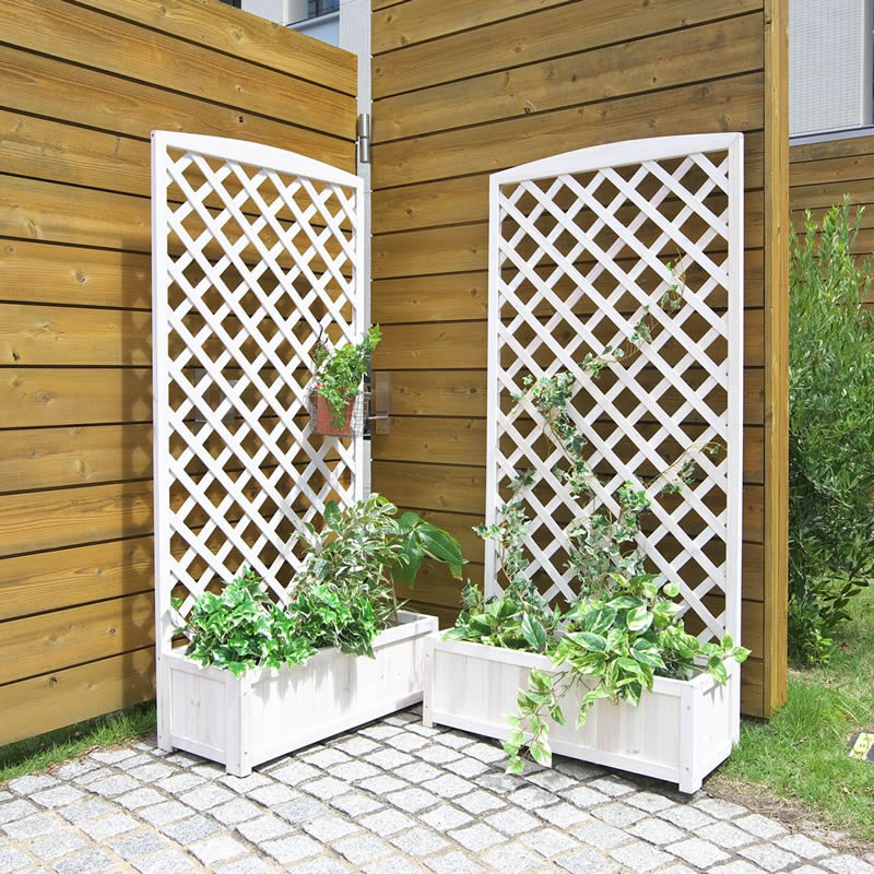 Natural Wood With Lattice Trellis Planter Wash White 2 Piece Set 150 Cm X 71 5 Wide Clic Is At This Price Item No Lp 72150wht