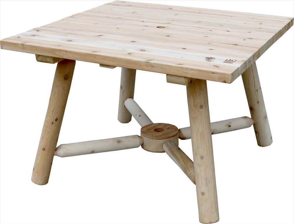 テーブル 木製 ガーデンファニチャー 屋外 庭 ホワイトシダー カナダ バーベキュー 角型 【メーカー直送:代引不可商品】 スクエア パラソルテーブル 商品型番:no130