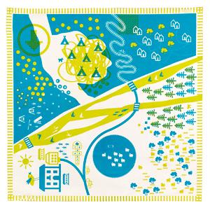 【送料無料(北海道・沖縄・離島を除く)】TAPIKID#3 ピクニックマット 黄緑色 DEUZ【デューズ/フェアトレード/フランス】