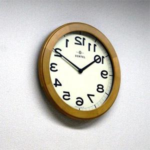 リバースクロック 【さんてる 日本製 木製逆転時計 ライトブラウン QL889-LBR 1286912】 【送料無料・代引料無料】 [淡いアイボリー地の文字盤に天然木の素材を活かしたおしゃれなリバース時計]