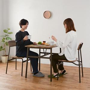 木製テーブルセット 2人用 【木製 ダイニング 3点セット 幅70cm ブラウン LDS-4893BR】 【送料無料】 [スタイリッシュでおしゃれな食卓テーブルセット 2人用 ダイニングセット]