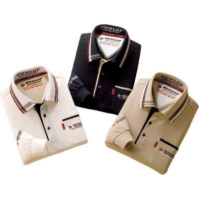 ポロシャツ 3色セット 【送料無料】 ホワイト ブラック ベージュ メンズ 紳士用 長袖 【ダンロップ・モータースポーツ デザイン長袖ポロシャツ 同サイズ3色組】