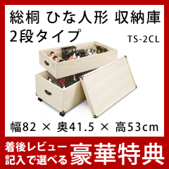 雛人形 保管 収納ケース [日本製 キャスター付き 総桐ひな人形収納庫 深型 2段 TS-2CL]【送料無料】