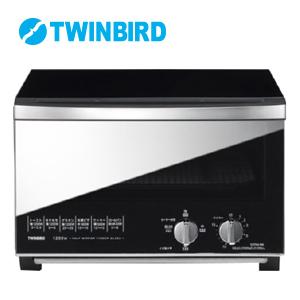 【一年保証】【ツインバード ミラーガラスオーブントースター TS-D048B】 おしゃれなオーブントースター4枚 インテリアオーブン 4枚焼き 黒 ブラック スタイリッシュ
