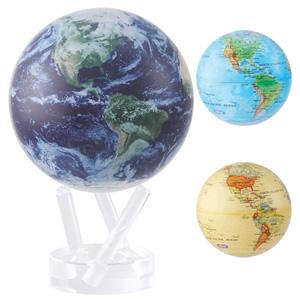 2月下旬入荷予定/\ページ限定・ティースプーン付/ 【送料無料・一年保証】【不思議な地球儀 MOVAグローブ 15cm】アクリル地球儀 自転 回転 光 回る