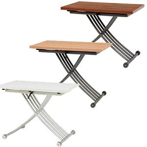 【送料無料】【エクステンション昇降テーブル KT-3196】 木製センターテーブル 拡張テーブル リフティングテーブル 高さ調節 キャスター付き