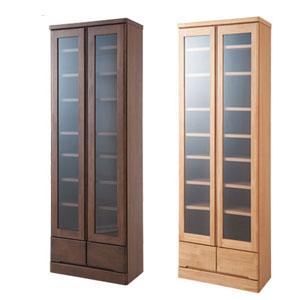 【送料無料】 完成品 ガラス扉付き本棚 天然木書棚60 ハイタイプの通販