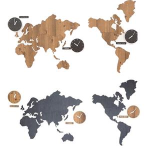 ハンドメイド mo:ro 掛け時計 World Time MONO(世界時計)【送料無料】[インテリア壁掛時計 ウォールクロック 静音 オシャレ 世界地図 海外時間 木製]