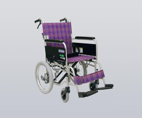 車椅子 (アルミ製・背折れタイプ) KA402SB-A11 介助式 ノーパンクタイヤ/紫チェック