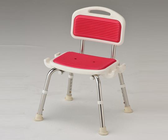 業務用シャワー椅子(ステンレスフレーム) 肘無し レッド 520×440×640~740mm 頑丈なステンレスフレームです