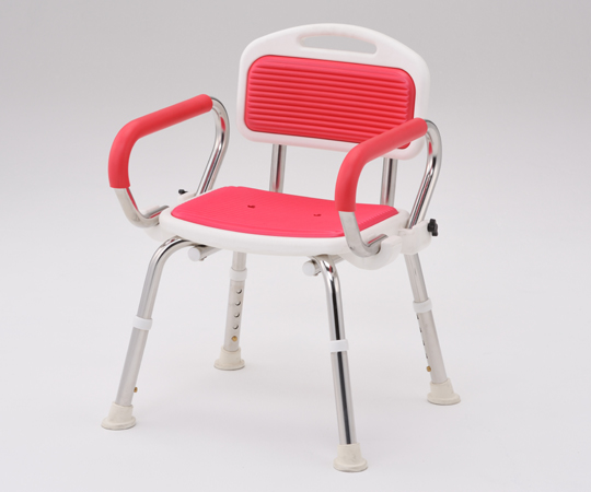 業務用シャワー椅子(ステンレスフレーム) 肘付き レッド 520~560×440~460×640~740mm 頑丈なステンレスフレームです