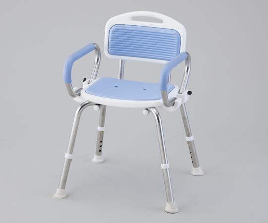 業務用シャワー椅子(ステンレスフレーム) 肘付き ブルー 520~560×440~460×640~740mm 頑丈なステンレスフレームです
