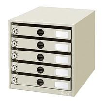 鍵付きレターケース<レターガード> A4タテ 5段  LC-K5M   312-3973