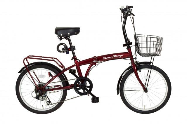 Classic Mimugo FDB20 6S OP / 20インチ折畳自転車6段ギア・ライト・ロック付き / クラシックレッド /  MG-CM206 【代引不可】