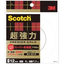 スコッチ 超強力両面テープ プレミアゴールド (スーパー多用途)12mm×4m 20巻  SPS-12   968-4126
