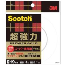 スコッチ 超強力両面テープ プレミアゴールド (スーパー多用途)19mm×4m 10巻  SPS-19   968-4133