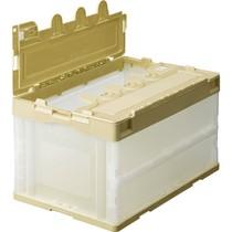 折りたたみコンテナ 50L アイボリー×透明 フタ付 10台  GP-OC50F-T   967-5704