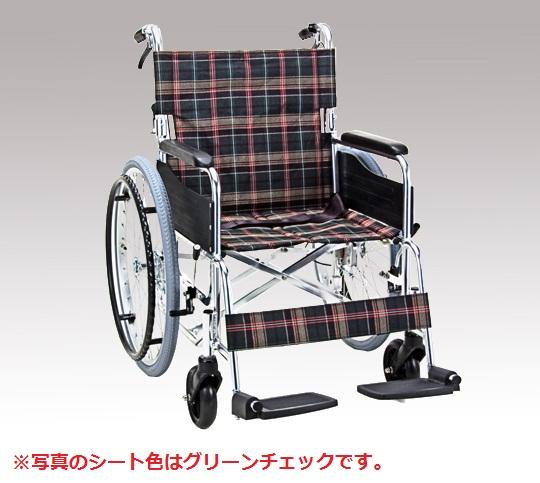 車椅子 (アルミ製背折れタイプ) KS50-4643NC 自走式 ネイビーチェック 695×995×890mm