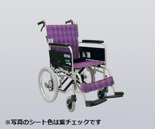 車椅子 (アルミ製・背折れタイプ) KA402SB-A3 介助式 ノーパンクタイヤ/紺チェック