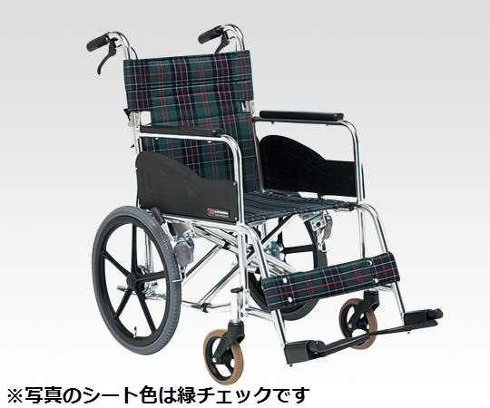 介助式車いす (アルミ製・背折れタイプ) AR-301-40S1 介助式 茶チェック 600×1015×895mm
