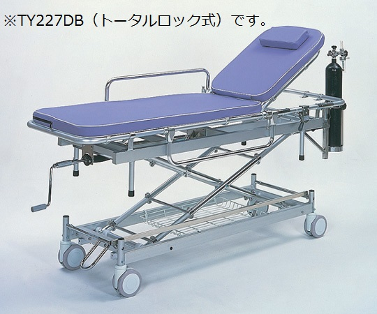 ストレッチャー(省力昇降機構付き) TY227D 560×1900×500~900mm トータルロック式