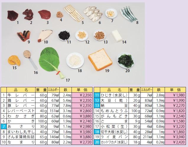 イワイサンプル 鉄分を多く含む食品(食材) Aセット/食品サンプル/栄養指導用フードモデル