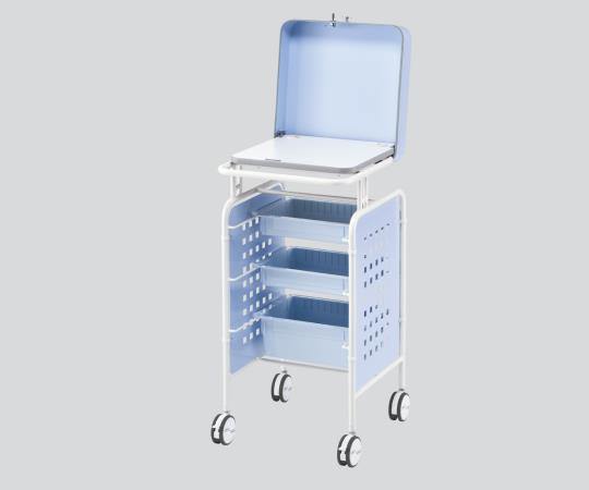 セキュリティーPCカート 本体ベーシックBLUE ブルー 500×550×1050mm 鍵のかかるセキュリティカバーが付いたPCカートです 【代引き不可】