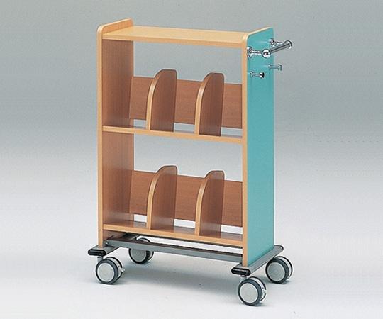 【代引き不可】木製カルテワゴン(筆記台付き) WOOD-B40/ブルー、WOOD-P40/ピンク 718×400×1050mm