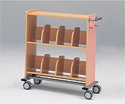 【代引き不可】木製カルテワゴン(筆記台付き) WOOD-B60/ブルー、WOOD-P60/ピンク 958×400×1050mm