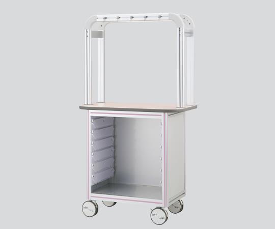 点滴作業台(片面型・アルティアトレー対応タイプ)壁際にすっきり設置できる片面型 OT9-1LP 900×500×1650mm ピンク スタンダードタイプ×1列